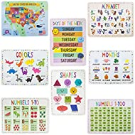 """8-Pack Reversible Classroom Wall Posters 22"""" x 17"""" - Learn The Alphabet, Colors, Days, Months, Numbers, Shapes, & USA Map by Pint-Size Scholars"""