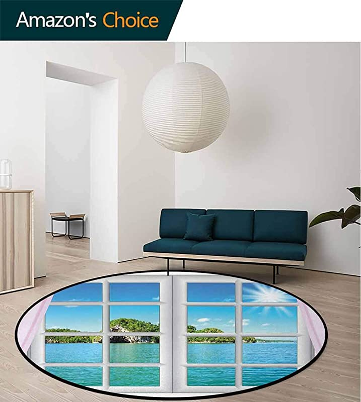 DESPKON HOME Ocean Round Area Rug Ocean View From The Window On Island In Sunny Summer Day Peaceful Relaxation Resting Living Dinning Room Bedroom Rugs Diameter 71 Inch Pink Blue