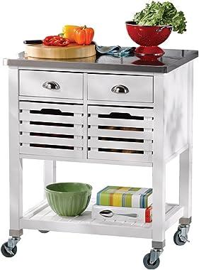 Linon Hudson White Kitchen Cart,
