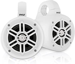 Waterproof Marine Wakeboard Tower Speakers - 4 Inch Dual Subwoofer Speaker Set with 300 Max Power Output - Boat Audio System Kit w/Titanium Dome Tweeters & Mounting Clamps - Pyle PLMRWB45W (White)