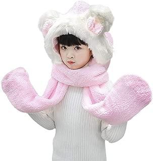 Kids Baby Cartoon Winter Fleece Warm Earflap Hoodie Beanie Hat Scarf Gloves Set