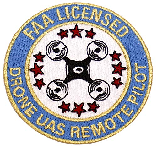 """Blue and Red 3"""" Drone Accessories Lapel Pin - FAA Licensed UAS Remote Pilot Iron On Patch"""