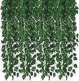 Wenyun Guirnalda artificial de 12 hilos con hojas de rubí verde para colgar plantas falsas, para bodas, fiestas, mesas de oficina