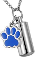 HooAMI Pet Dog Paw Charm & Cylinder Memorial Urn Necklace Stainless Steel Cremation Jewelry
