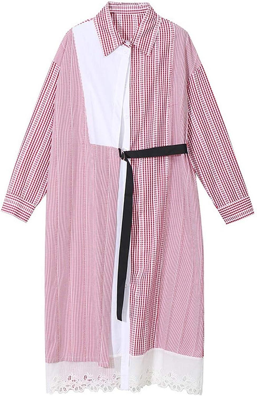 CollocationOnline Lapel Long Sleeve bluee Plaid Mesh Hem Lace Split Joint Loose Shirt Dress Fashion
