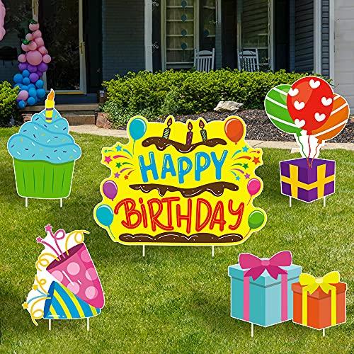 WATINC Set of 5 Happy Birthday Yard Signs with Stakes Birthday Cake Cupcake...