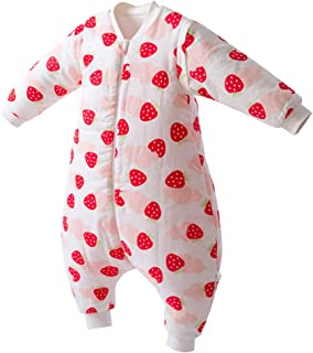 Saco de Dormir Acolchado de Algodón para Bebé para Invierno Bolsa Dormida con Mangas Largas Verano Primavera Otoño Desmontable para Niños 1 año - 3 años