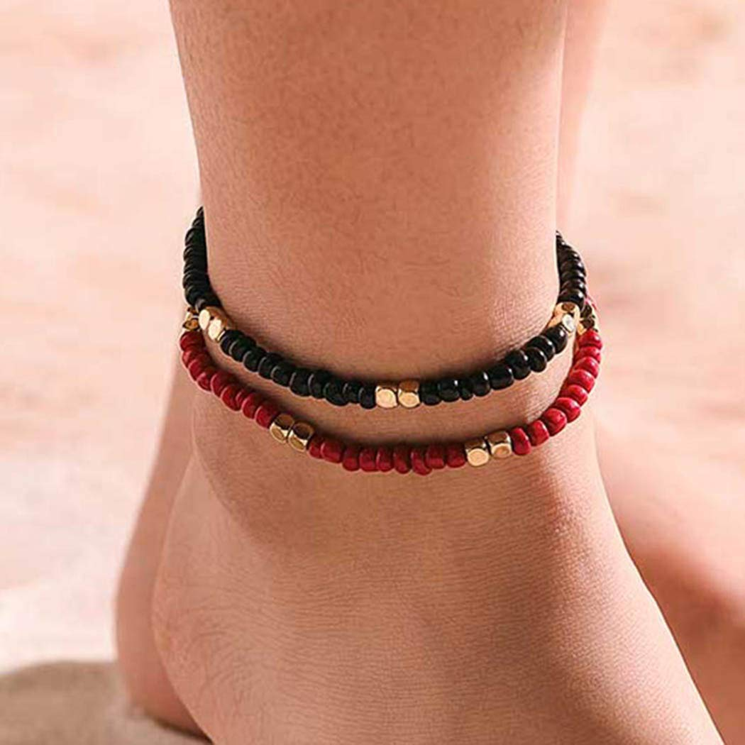 Aularso Bohemia Ankle Bracelets Vintage Bead Anklet Cubes Foot Chain Jewelry for Women and Girls (BlackPink)