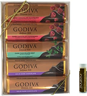 Godiva Classic Chocolate DARK BAR GIFT SET with Dark Chocolate Raspberry, Mint Chocolate Chip in Dark Chocolate Truffle & Solid Dark Chocolate with a Jarosa Chocolate Bliss Lip Balm