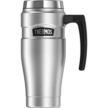 Thermos 16 oz Stainless Steel//Black ThermoCafe Stainless Steel Travel Mug
