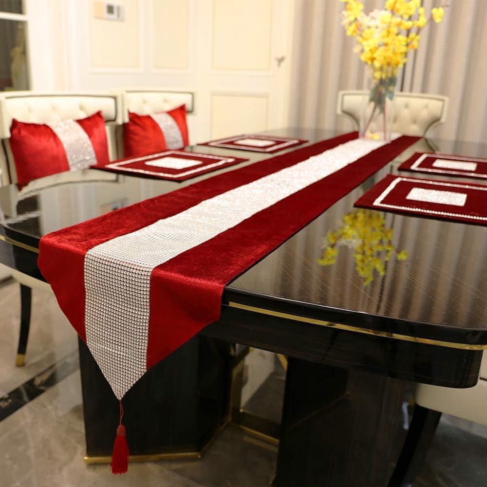 de f/ête de No/ël noir BIT.FLY Chemin de table classique 32 x 210 cm avec pompons pour d/écoration de mariage