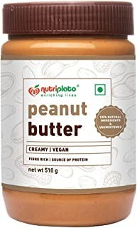 Nutriplato-enriching lives All Natural Peanut Butter Creamy 510 g - Vegan ; Source of Protein ; Unsweetened ; Gluten Free