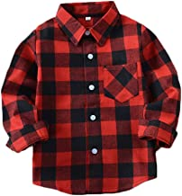 ASHER FASHION Unisex Kids Long Sleeve Button Down Casual Blouse Tops Flannel Plaid Shirt with Pocket