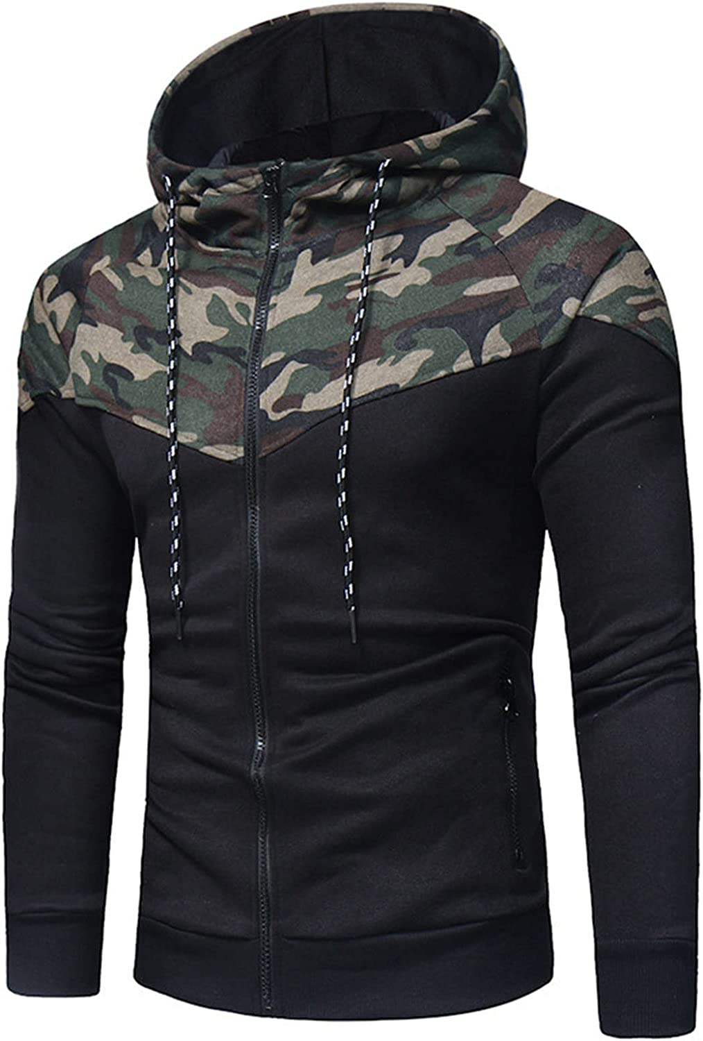 HONGJ Camo Hoodies for Mens, Fall Zipper Camouflage Patchwork Drawstring Hooded Sweatshirts Slim Fit Casual Jackets
