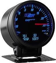 GlowShift 3in1 Analog 30 PSI Boost/Vacuum Gauge Kit with Digital 150 PSI Pressure & 300 F Temperature Readings - 10 Selectable LED Colors - Black Dial - Tinted Lens - 2-3/8