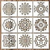 Whaline 9 Stück Mandala Schablonen Set Mandala Dotting Tools Schablonen Werkzeug für Malerei, Holz, Wand, Möbel, Bodenfliesen, Glasgewebe, wiederverwendbare Airbrush Vorlage ( Verschiedene Muster )