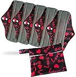 PeriodMate Cloth Menstrual Pads and Panti Liners (Red Love, Large)