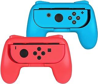 Fintie ジョイコンハンドル 任天堂 Joy-Conハンドル Nintendo Switch Joy-Con グリップ 【2個セット】装着簡単 耐磨 反応素早い ゲームコントローラ (ブルー/レッド)