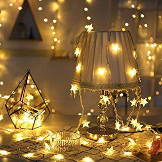 XINKAITE Star String Lights Battery Operated 40 LED 19.6FT Twinkle Little Star Lights Indoor Starry Fairy Lights Warm White for Patio Wedding Bedroom Christmas Home Decoration
