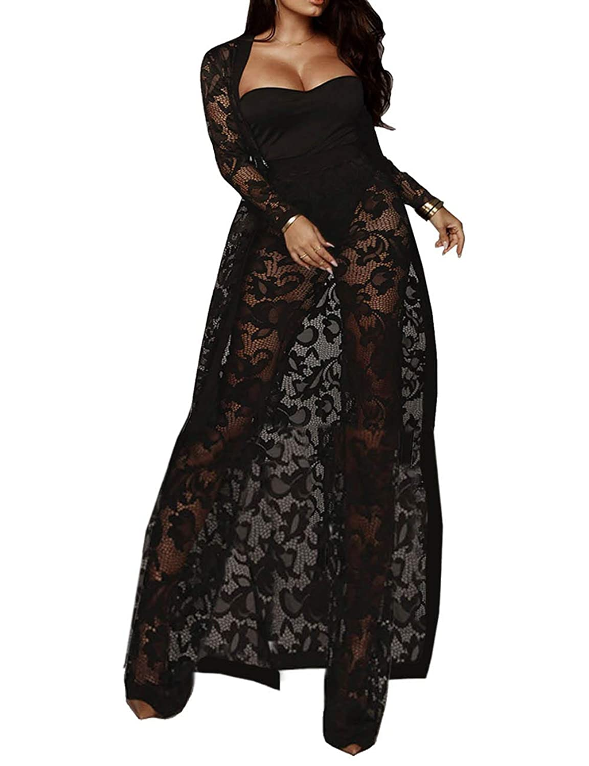 XXXITICAT Women's Sexy Lace Transparent See Through Wide Leg Pants Tube Top Long Coat Sets Suits
