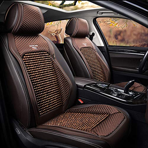 kangsheng Sommer Holz Perlen Autositzbezüge,Autositz Protector Cool Atmungsaktiv,Verstellbare abnehmbare Leder Holz Perlen für 5-Sitzer Auto Material (Coffe,Standard Edition)
