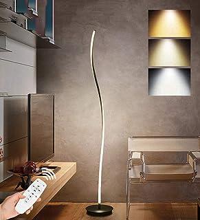 Espiral LED Lámpara de pie Regulable, 28W Moderna Creativa ondulado Diseño Lámpara de salón Lámpara de Noche de Aluminio, con mando a distancia para dormitorio salón oficina, Negro, 110-220V, 142CM