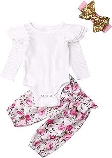 Baby Girl Ribbed Bodysuits Ruffle Long Sleeve Jumpsuit Newborn Knit Shirt Sweaters Top+Floral Pants+Headband