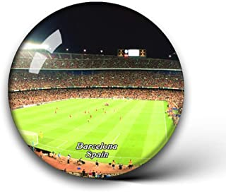 Jollin Spain Camp Nou Barcelona Fridge Magnets Clear Crystal Glass for Refrigerator City Travel Souvenirs Funny Whiteboard Home Decorative Sticker Collection Gifts Round Magnet