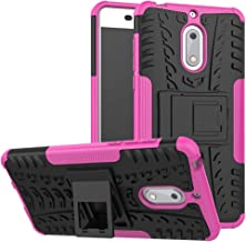 Case for Nokia 6 Case Cover,Case for Nokia 6 Arte Black Case Shockproof Mobile Phone Case Stand Pink