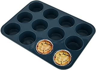 Vnray Silicone Muffin Baking Pan & Large Cupcake Tray 12 Cup - Nonstick Cake Molds/ Tin, Silicon Bakeware, BPA Free, Dishw...