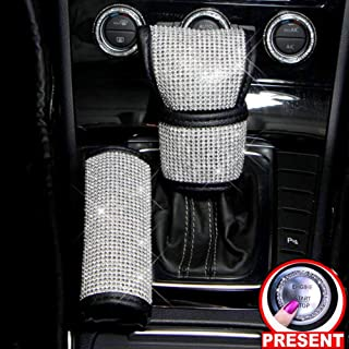 Fashowlife Car Bling Gear Shift Knob Cover & Handbrake Cover Set Crystal Diamond Auto Car Decoration Accessories Stick Protector for Women Men