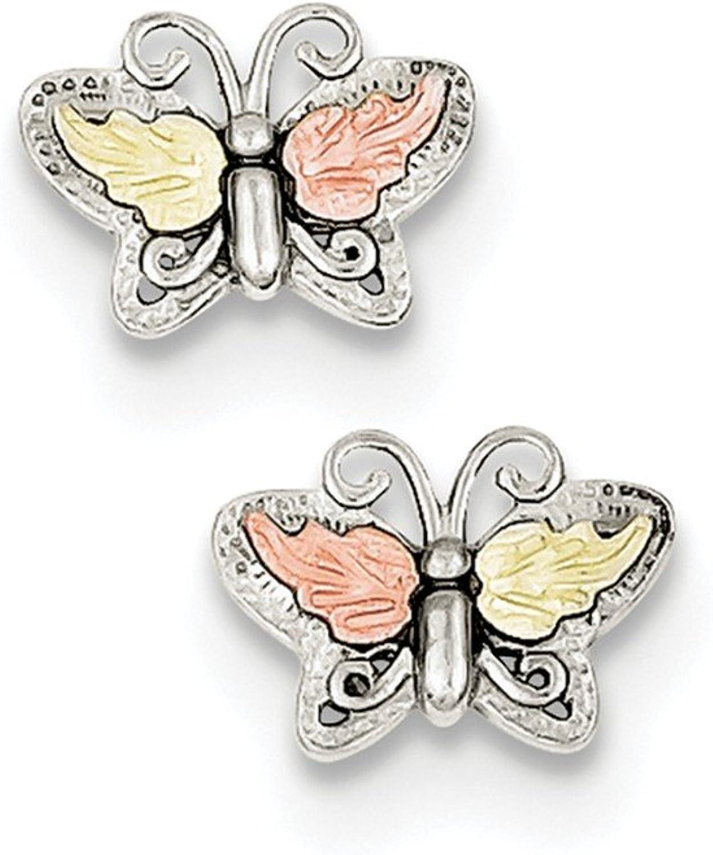 Beautiful Sterling silver 925 sterling Sterling Silver & 12K Butterfly Post Earrings