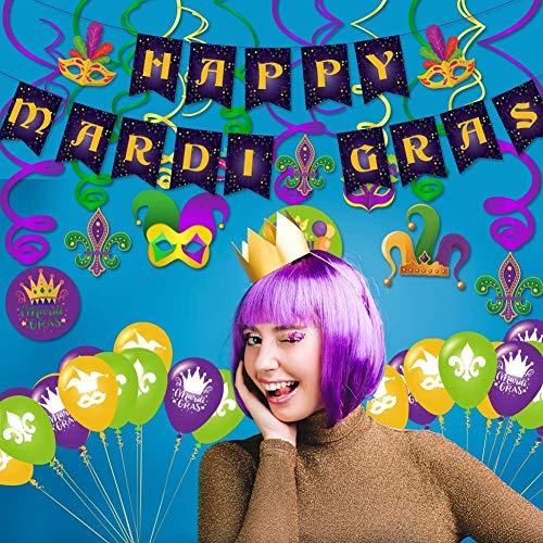 Carnevale con 30 pezzi da appendere a tema e cordoncini viola e verde con striscione per ghirlande di Carnevale, accessori per feste