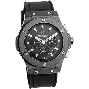 [HYAKUICHI 101] 腕時計 ウォッチ 100m防水 クロノグラフ 日付表示 ラバーベルト ブラック メンズ