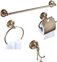 Case Wind Antiguo latón cuarto de baño Set de accesorios 4unidades, toalla gancho Soporte para papel higiénico Anillo toallero de barra All latón construcción para taladrar