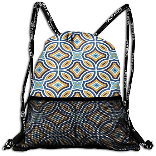 AZXGGV Drawstring Backpack Rucksack Shoulder Bags Gym Bag Sport Bag,Moroccan Oriental Traditional Culture Motif Vintage Style Ottoman Royal Arabian
