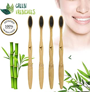 G.F. Bamboo Toothbrush Soft Bristle, 4 units, 100% Biodegradable, Medium Size,
