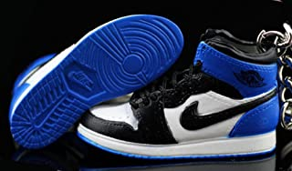 Pair Air Jordan I 1 Retro High Fragment Design Black Blue OG Sneakers Shoes 3D Keychain Figure