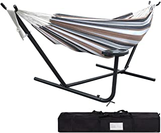 Lazy Daze Hammocks Portable 10 Feet Hammock Steel Stand with Hammock Bed Combo, Includes Carrying Case and Cup Holder Accessory Tray, 450 Pounds Capacity, White&Coffee