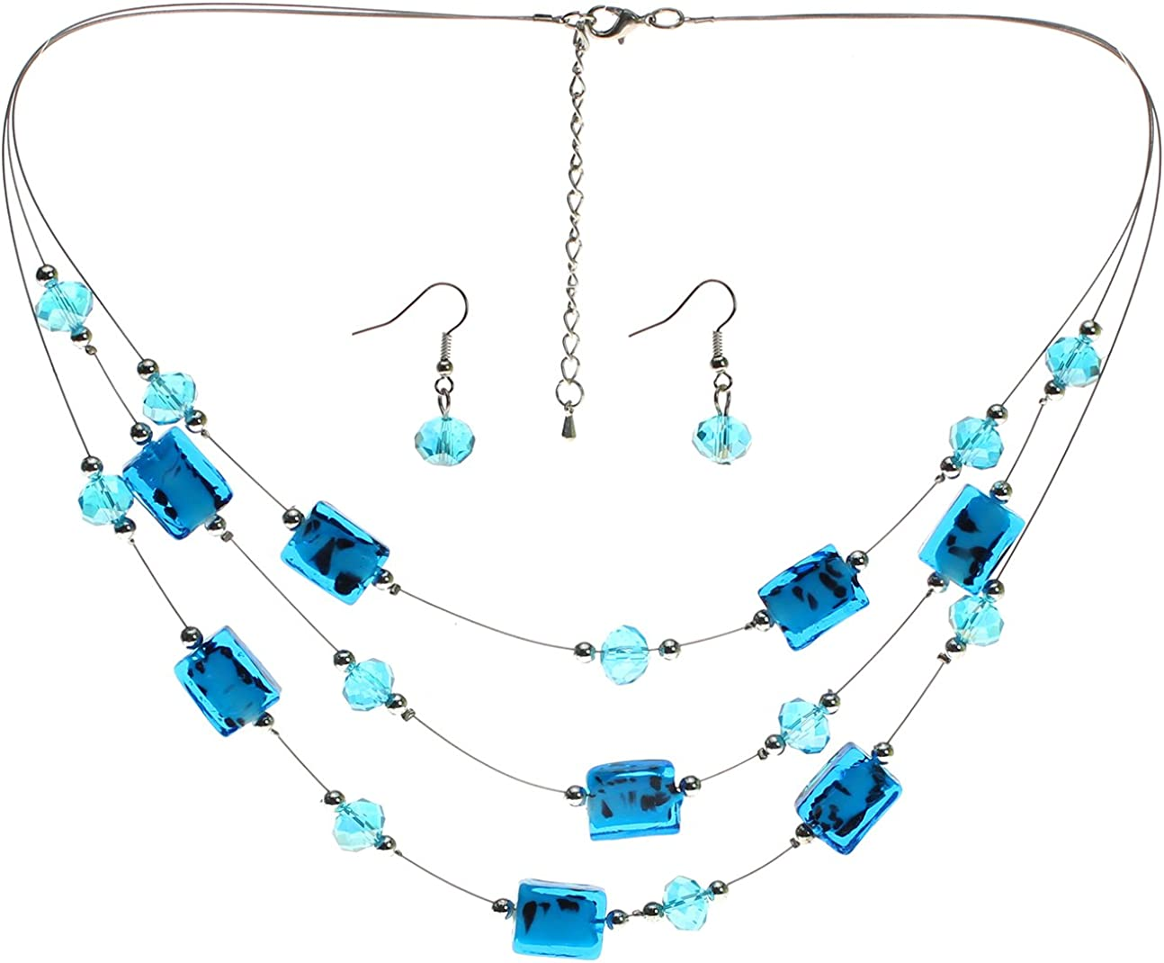 Lova Jewelry Deep Blue Airy Necklace and Earrings Set