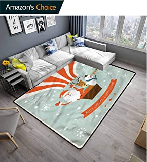TableCoversHome Santa shag Area Rug Door Mat, Hot Air Balloon Retro Pattern Printing Rugs, Durable Carpet Area Rug - Living Dinning Room Bedroom Rugs and Carpets (2'x 6')