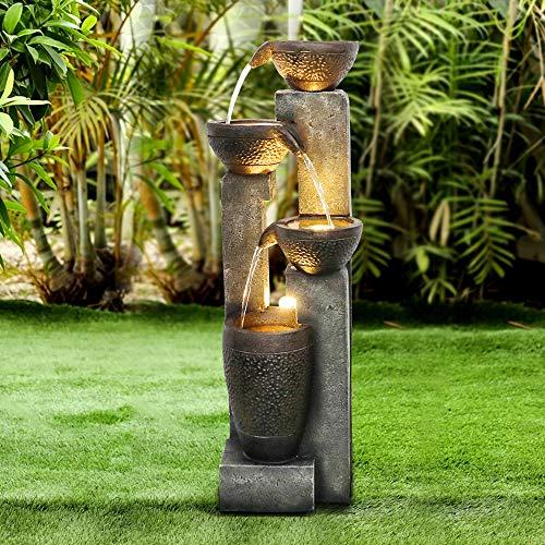 WATURE Juego de agua para jardín de 101 cm, moderna fuente de jardín para exteriores con sonidos de agua calmante y luz LED eléctrica, bonita fuente de agua para decoración de jardín