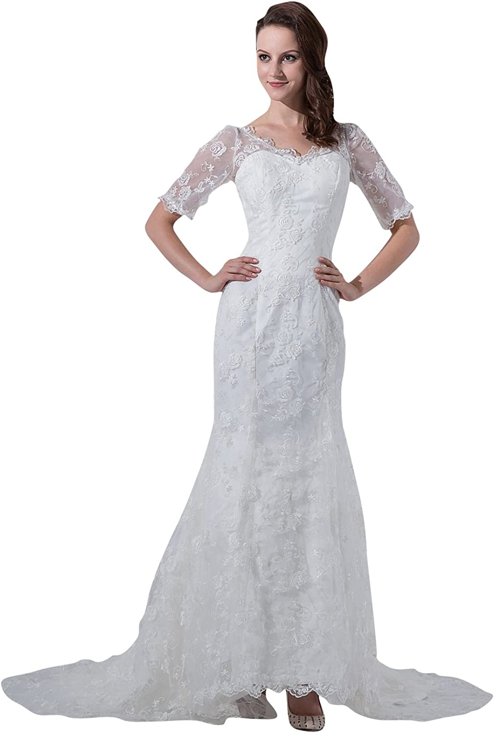 Vampal Ivory VNeck Lace Chapel Train Mermaid Wedding Dress With Half Sleeves