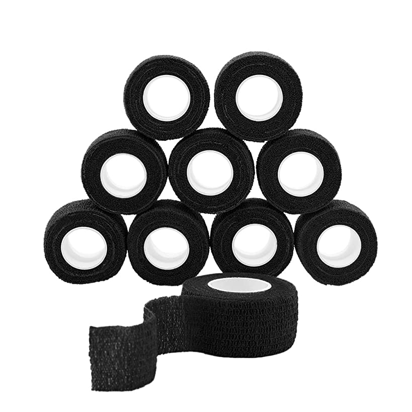 GooGou Self Adherent Wrap Bandages Self Adhering Cohesive Tape Elastic Athletic Sports Tape for Sports Sprain Swelling and Soreness on Wrist and Ankle 10PCS 1 in X 14.7 ft (black)
