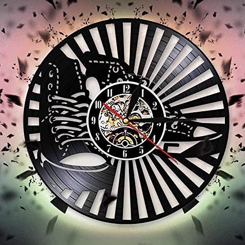 hxjie con Zapatillas Silueta Sombra Reloj de Pared diseño Moderno Reloj de Pared de Vinilo Reloj Personalidad Mural zapatería