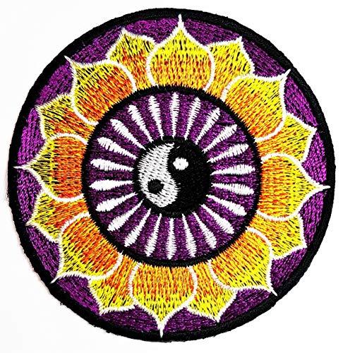 Circle Yellow Lotus Yin Yang Buddha Patch Sewing Clothing Patch Lucky Aum Om Infinity Hindu Buddha Lotus Flower Hand Eye Buddha Hindi Hinduism Yoga Applique Embroidered Iron On Patch (35)