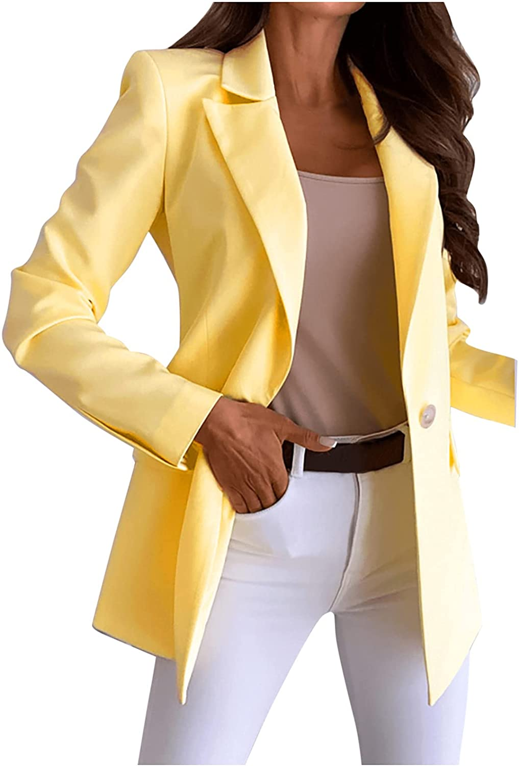 Xinantime Women's Pure Color Open Front Blazers Oversized Office Jackets Long Sleeve Single-Breasted Suit Tendy Tunic