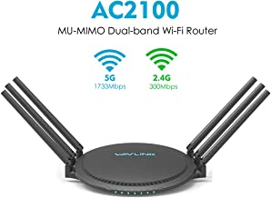WAVLINK AC2100 MU-MIMO Wireless Router, Dual Band 5G 2.4G 2100Mbps WiFi Router Gigabit Ethernet Smart WiFi Box High Speed Long Range for Wireless Internet Large Home Gaming