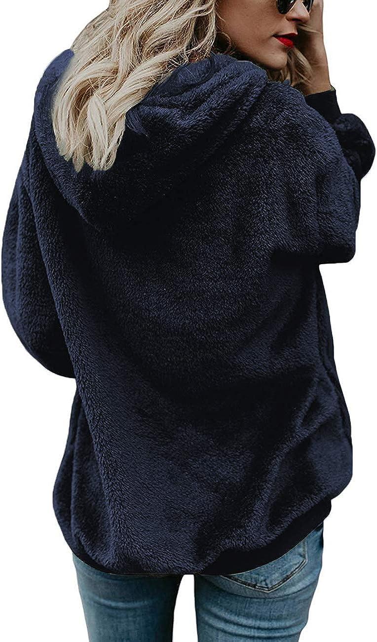 Uni Manches longues D/écontract/é Automne et hiver En polaire Pull chaud iWoo Sweat /à capuche pour femme