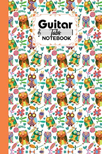 Guitar Tab Notebook: Premium Cute Owls Cover Guitar Tab Notebook, Music Paper Notebook, Blank Guitar Tablature Music Note, 120 Pages - Size 6